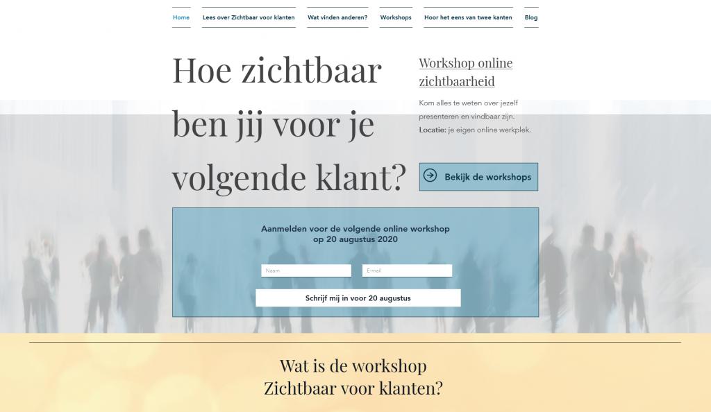 Online Workshop zichtbaar voor klanten